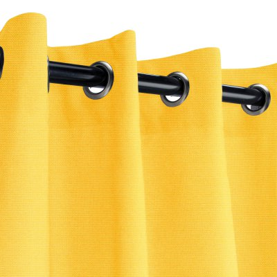 Sunbrella Canvas Sunflower Outdoor Curtain with Dark Gunmetal Grommets 50 in. x 84 in. w/ Stabilizing Grommets