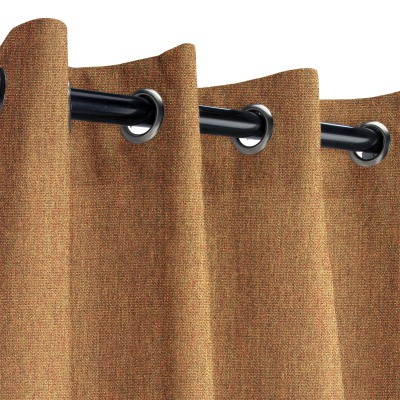 Sunbrella Canvas Teak Outdoor Curtain with Nickel Grommets