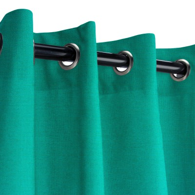 Sunbrella Canvas Teal Outdoor Curtain with Grommets