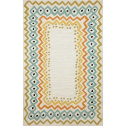 Capri Ethnic Border Natural Outdoor Rug