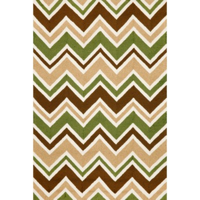 Capri See Saw Chevron Green Outdoor Rug