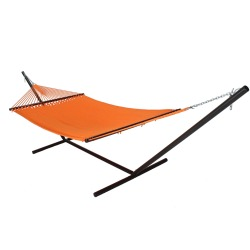 Large Soft Spun Polyester Caribbean Hammock with Tri-Beam Steel Hammock Stand