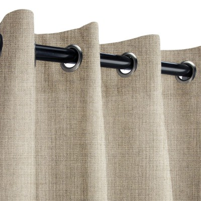 Sunbrella Cast Ash Outdoor Curtain with Nickel Grommets 50 in. x 84 in. w/ Stabilizing Grommets