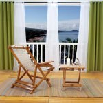 Polyester Outdoor Curtain with Grommets - Green