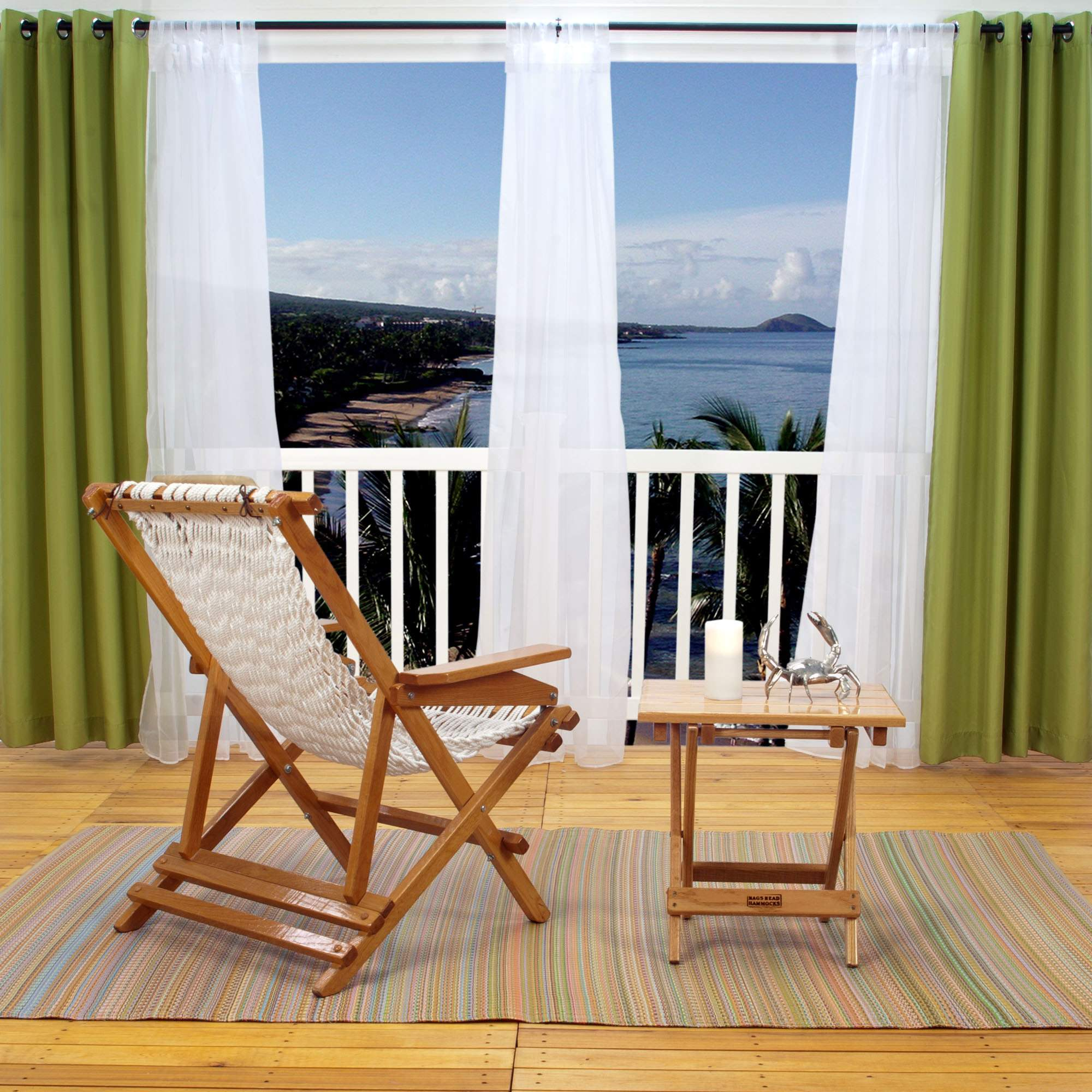 Outdoor curtains -  Polyester Outdoor Curtain With Grommets Green