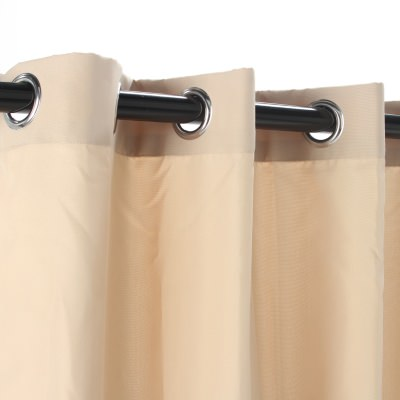 Beige Polyester Grommeted Outdoor Curtain (50 x 96)