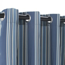Polyester Outdoor Curtain with Grommets - Stripe Blue