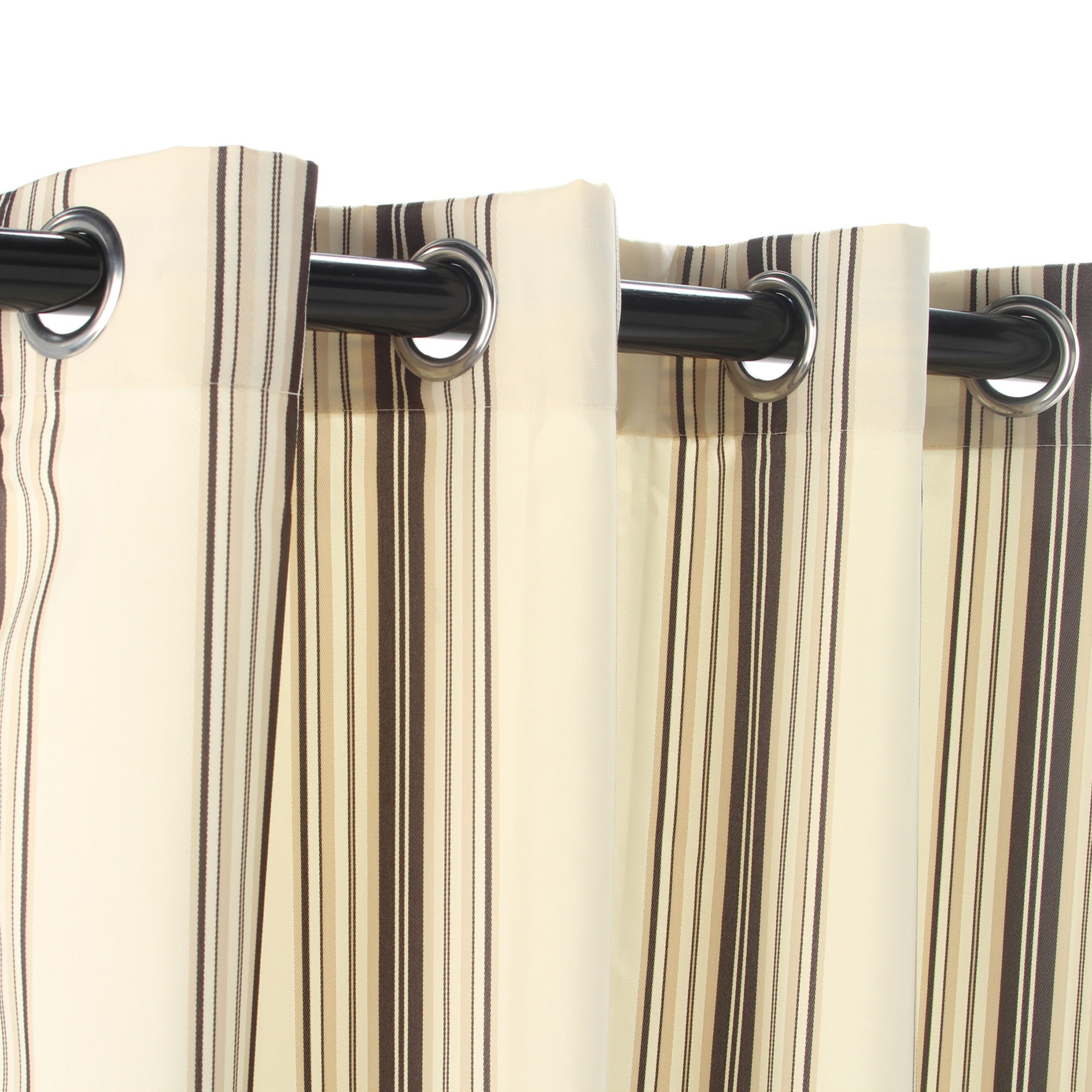 Stripe Khaki Polyester Grommeted Outdoor Curtain (50 X 84)