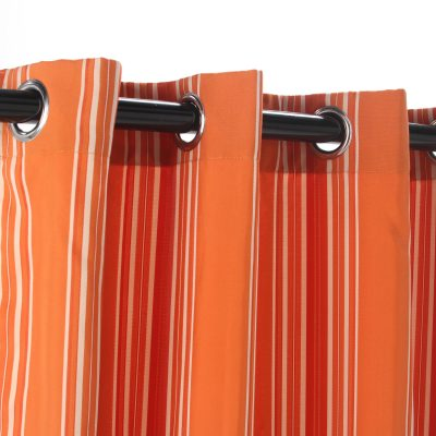 Polyester Outdoor Curtain with Grommets - Orange Stripe