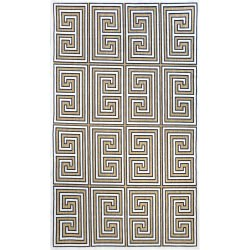 Tan Machine Made Greek Key Austin Outdoor Rug