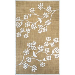 Tan Machine Made Outdoor Floral Amber Rug