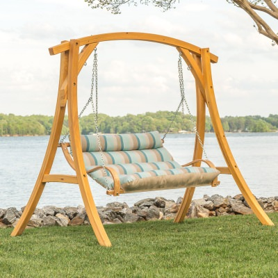 Deluxe Cushioned Double Swing Made with Sunbrella - Gateway Mist