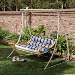 Deluxe Cushioned Double Swing - Hamptons Summer Stripe