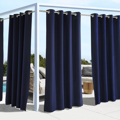 Navy Coastal Polyester Outdoor Curtain