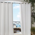 White Coastal Polyester Outdoor Curtain