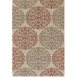 Five Seasons Montecito Cream and Coral Red Outdoor Rug