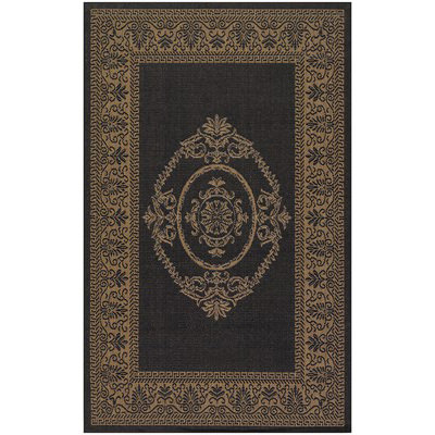 Recife Antq Medallion Black/Cocoa Outdoor Rug (2 ft x 3 ft 7 in)