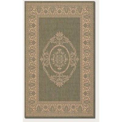 Recife Antq Medallion Green/Natural Outdoor Rug (2 ft x 3 ft 7 in)