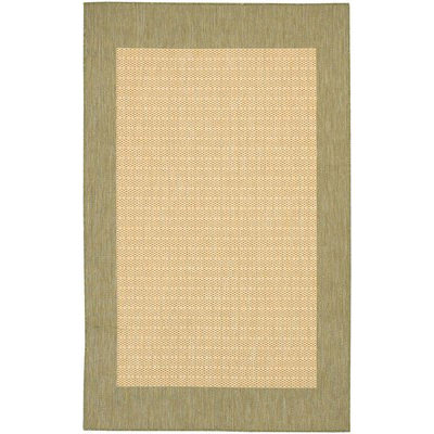 Recife Checkered Field Natural/Green Outdoor Rug (1ft 8in x 3ft 7in)