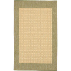 Recife Checkered Field Natural/Green Outdoor Rug