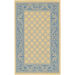 Recife Garden Lattice Natural/Blue Outdoor Rug