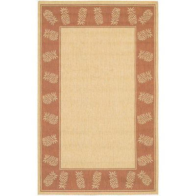 Recife Tropics Natural/Terra-Cotta Outdoor Rug (1 ft 8 in x 3 ft 7 in)