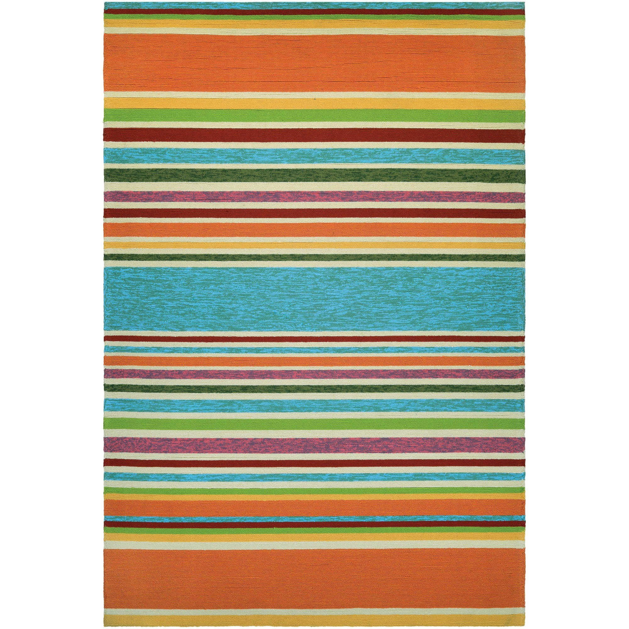 Exceptional Covington Sherbet Stripe Multi Color Outdoor Rug