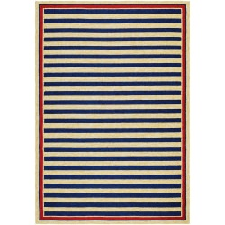 Covington Nautical Stripes Navy And Red Outdoor Rug
