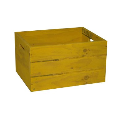 SGC 18 in Rectangle Wood Patio Crate Planter in Yellow