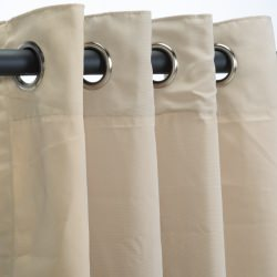 Sunbrella Canvas Antique Beige Outdoor Curtain with Nickel Plated Grommets