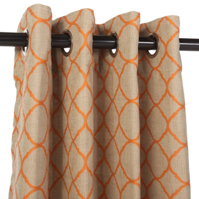 Sunbrella Outdoor Curtain with Nickel Grommets - Accord Koi