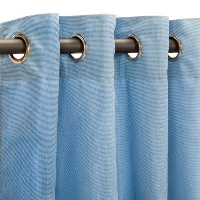 Sunbrella Canvas Air Blue Outdoor Curtain with Nickel Plated Grommets in 50 in x 84 in