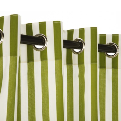 Polyester Cabana Green Outdoor Curtain with Nickel Grommets 50in. x 84in.