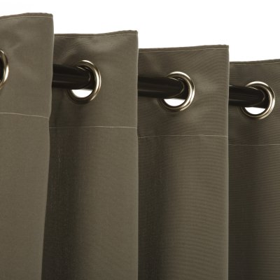 Charcoal Sunbrella Nickel Grommeted Outdoor Curtain