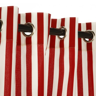 Polyester Outdoor Curtain- Nickel Grommets - Cabana Red