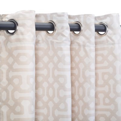 Sunbrella Fretwork Flax Outdoor Curtain with Nickel Plated Grommets in 50 in x 84 in