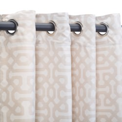 Sunbrella Fretwork Flax Outdoor Curtain with Nickel Plated Grommets