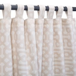 Sunbrella Fretwork Flax Outdoor Curtain with Tabs