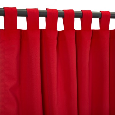 Canvas Jockey Red Sunbrella Outdoor Curtain With Tabs