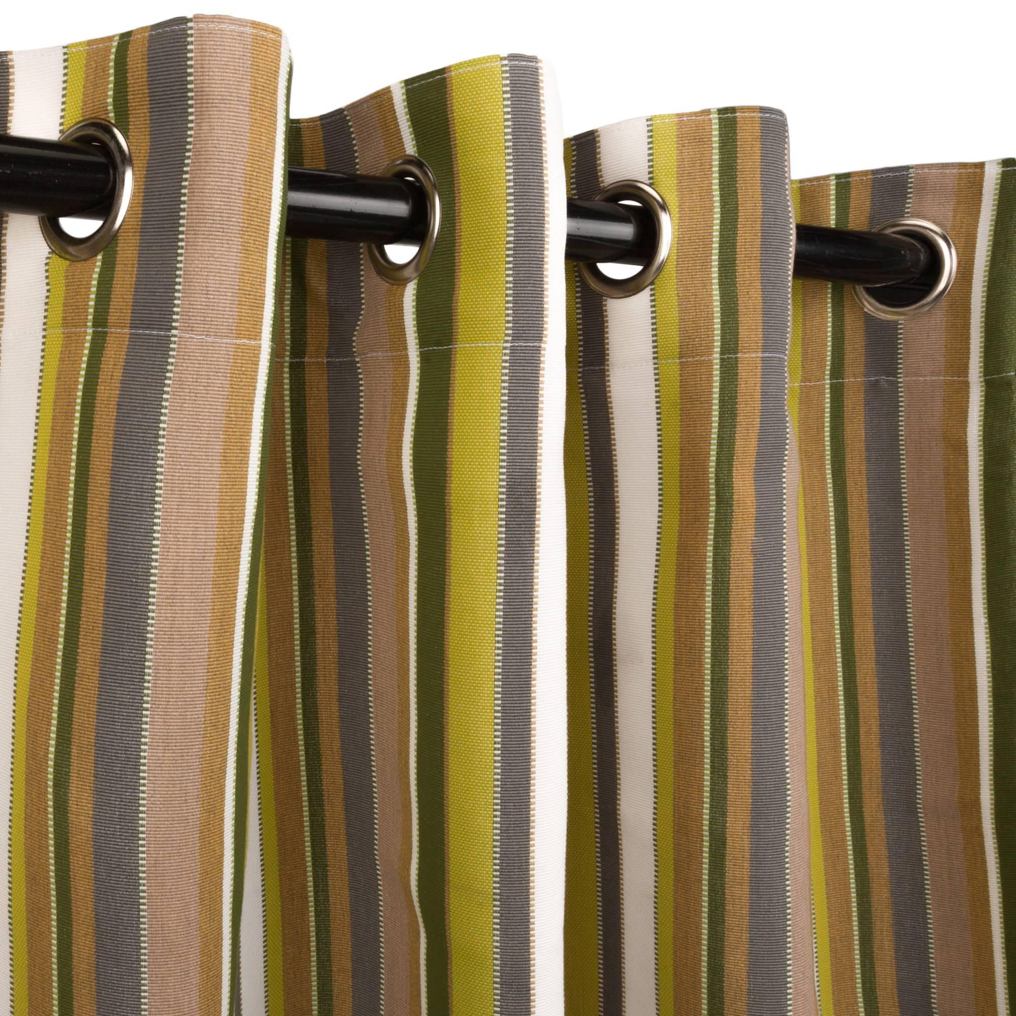 Outdoor curtains - Carousel Limelight Sunbrella Nickel Grommeted Outdoor Curtain
