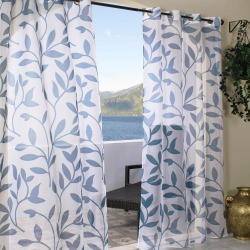 Sheer Blue Leaf Outdoor Curtains with Grommets