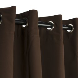 Bay Brown Sunbrella Nickel Grommeted Outdoor Curtain