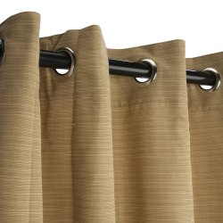 Sunbrella Dupione Bamboo Outdoor Curtain with Nickel Plated Grommets