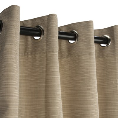 Dupione Sand Sunbrella Nickel Grommeted Outdoor Curtain