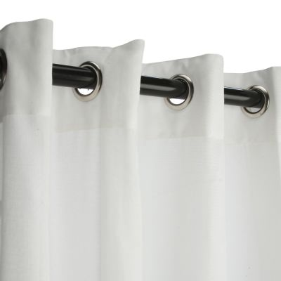 Sunbrella Sheer Snow Outdoor Curtain with Satin Nickel Plated Grommets 50 in. x 84 in. w/ Stabilizing Grommets