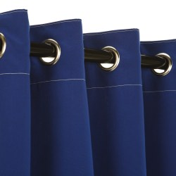 Sunbrella Canvas True Blue Outdoor Curtain with Plated Grommets