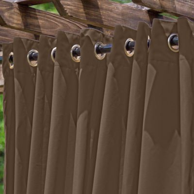 Light Brown Extra Wide Outdoor Curtain with Nickel Grommets