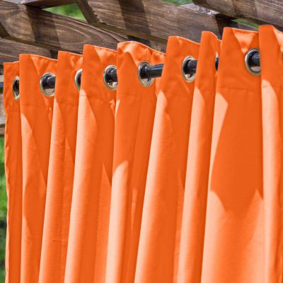 Orange Extra Wide Outdoor Curtain with Nickel Grommets