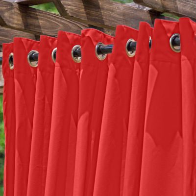 Red Extra Wide Outdoor Curtain with Nickel Grommets