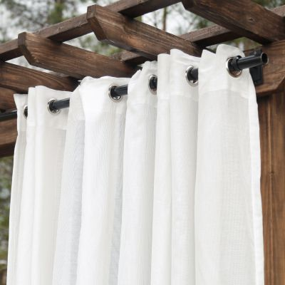 Sheer White Extra Wide Outdoor Curtain with Nickel Grommets